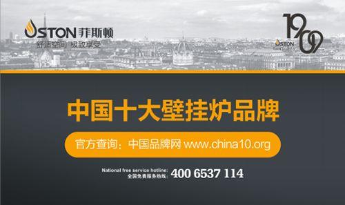 中国十大壁挂炉品牌荣耀揭晓 菲斯顿强大实力榜上有名